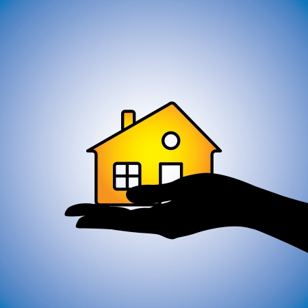 owning: Concept illustration of buyingselling of househome. This can represent concept of buyer buyingselling a residential property fromto a real estate agent or fromto another owner owning the asset