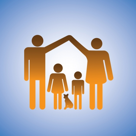 Concept illustration of parents,children & dog forming a home. This represents a nuclear family of father, mother, son, daughter & a pet dog with father & mother raising their arms in shape of a house Stock Vector - 15970445