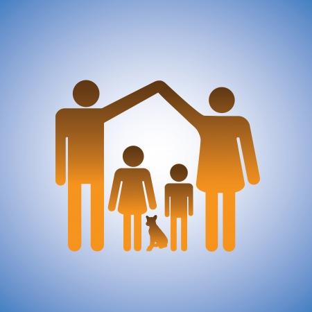 parentalidade: Ilustração do conceito de pais, filhos e cachorro, formando uma casa. Isto representa uma família nuclear de pai, mãe, filho, filha e um cachorro de estimação com o pai e mãe levantando os braços em forma de uma casa