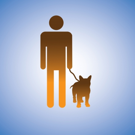 dog walk: Illustration of man and his best friend - dog  This graphic contains symbol of adult male holding the leash of his puppy Illustration