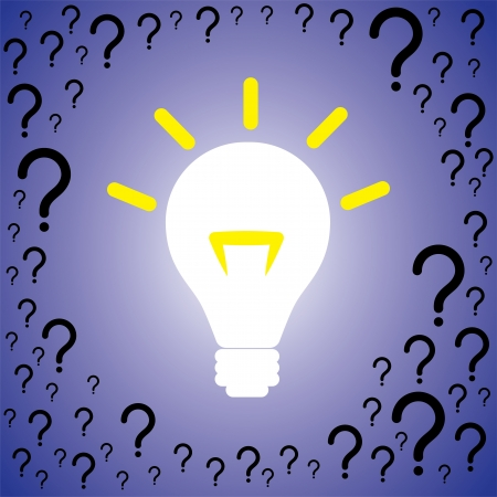 displaced: Concept illustration of problem solution. The graphic contains many question marks indicating problems being displaced by brightly lit bulb indicating solution or idea