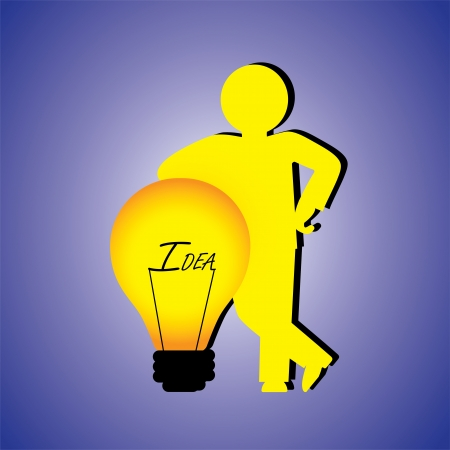 Concept illustration of person with creative ideas. The graphic contains a professional person(businessman) standing besides a bulb with word idea & the concept represents problem solving person Vector
