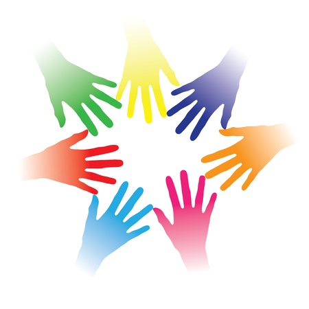 community help: Concept illustration of colorful hands held together indicating social networking, team spirit, people bonding, multiracial group of people, partnership, helping each other, community of people, etc.