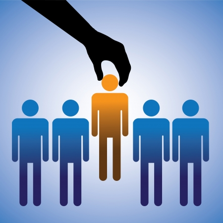 hire: Concept illustration of hiring the best candidate  The graphic shows company making a choice of the person with right skills for the job among many candidates