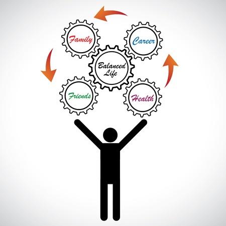 Ilustración del concepto de la vida laboral persona malabares equilibrar el hombre muestra gráfica tratando de lograr el equilibrio trabajo-vida, trabajando en su carrera, la familia, los amigos y la salud