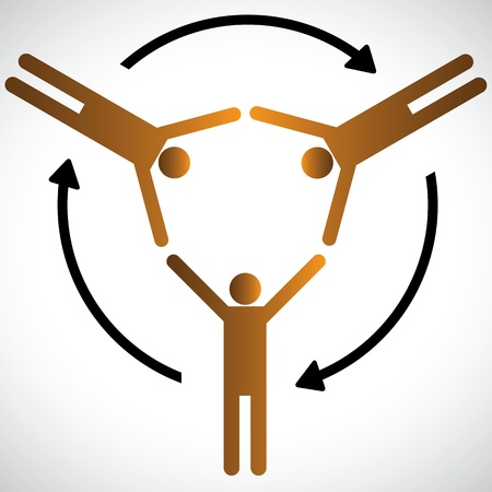 depending: Concept of people networking, community and cooperation  The graphic shows people symbols depending on each other for various needs and represents concepts of community, friendship, support, etc