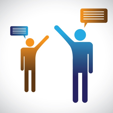 personas comunicandose: Concepto gr�fico de gente hablando, hablando o conversando La ilustraci�n muestra dos s�mbolos personas con iconos de chat a hablar entre ellos