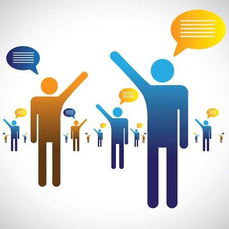 comunicacion oral: Mucha gente hablando, hablando o conversando gr�fica La ilustraci�n muestra los s�mbolos de muchas personas con iconos de chat hablar con una sola una otra