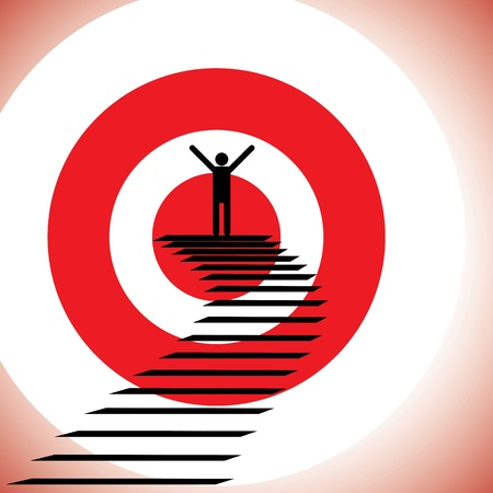 bull s eye: Concept illustration of a person reaching goal and winning a challenge  The graphic shows a determined   confident person achieving success by reaching the target and winning Illustration