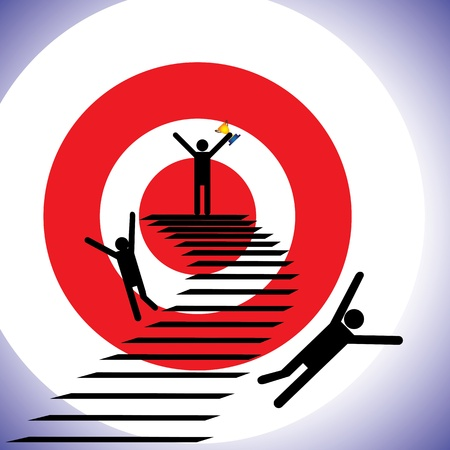 Concept illustration of a winner and losers  The graphic shows a person successfully reaching goal a winning while others falling down the path and getting defeated  unsuccessful Stock Vector - 16032714