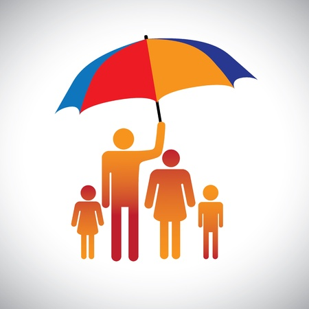 Illustration of a family of four with umbrella  The graphic represents father protecting the family of mother   children by covering with umbrella  Also represents concept of caring,love, bonding, etc Ilustração