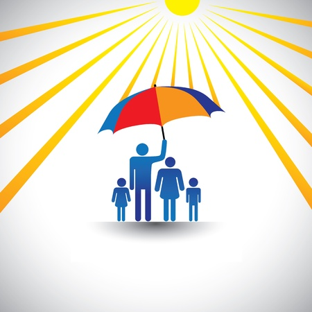 Father protecting family from hot sun with umbrella. The graphic represents father holding a colorful umbrella  which covers his family which includes his wife & children(concept of caring, love, etc) Stock Vector - 16111824