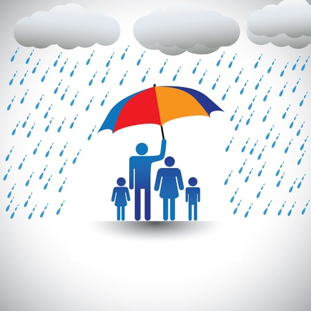represents: Father protecting family from heavy rain with umbrella. The graphic represents father holding a colorful umbrella covering his family which includes his wife & children(concept of caring, love, etc) Illustration