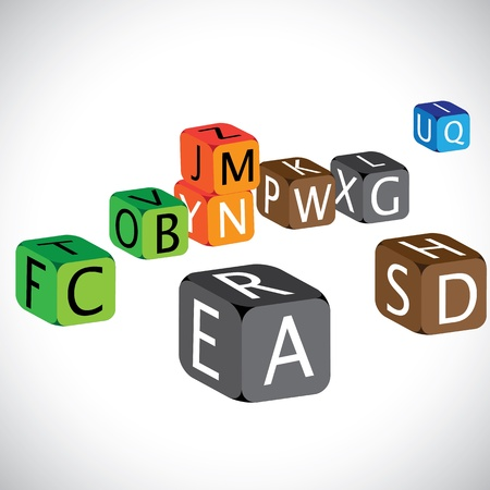 Illustration of colorful cubes of alphabets  The cubes are made of english language characters in capital case which are used to teach children Stock Vector - 16482481