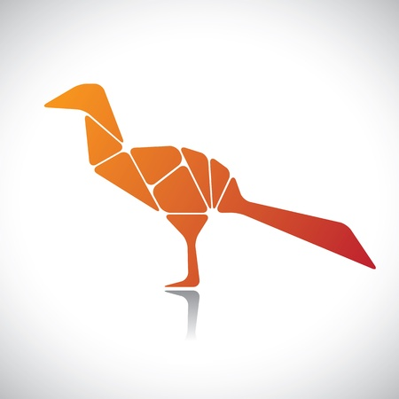 assembled: Abstract illustration of a bird in orange color. The graphic contains bird assembled by joining different body parts(blocks)