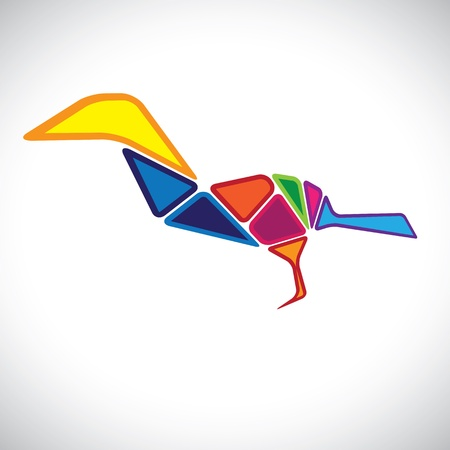 assembled: Abstract illustration of a colorful bird in 3d. The graphic contains bird assembled by joining different body parts(blocks) colored with different bright colors Illustration