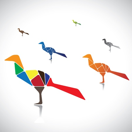 assembled: Abstract illustration of a many colorful birds together. The graphic contains birds assembled by joining different body parts(blocks) colored with different bright colors Illustration