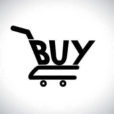 Concept illustration of shopping cart with the word buy. The graphic represents online shopping concept using e-commerce to buy anything online Stock Vector - 16504936