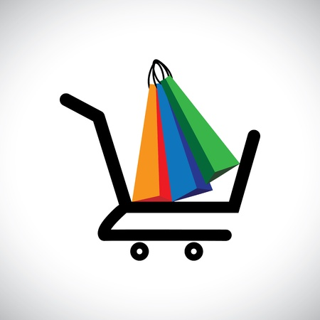 online purchase: Concept illustration - online shopping cart   bags  The graphic contains a shopping cart symbol with colorful shopping bags representing conceptually purchasing online and e-commerce