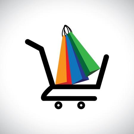 retail shop: Ilustraci�n del concepto - Tienda Virtual de bolsas El gr�fico contiene un s�mbolo del carrito de la compra con bolsas de la compra de colores que representan conceptualmente compra en l�nea y el comercio electr�nico Vectores