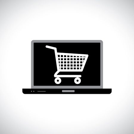 armchair shopping: Illustration of buying or shopping online using computer  The graphic contains a laptop and shopping cart icon on its screen representing the concept of e-commerce online shopping e-business, etc