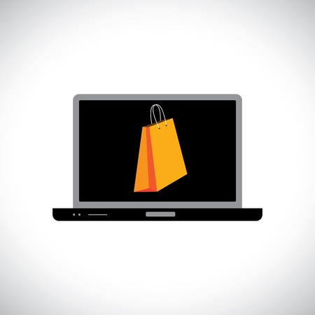 ebusiness: Buying shopping online using a computer laptop   The graphic contains a laptop and shopping bag symbol on its screen representing the concept of e-commerce online shopping e-business, etc
