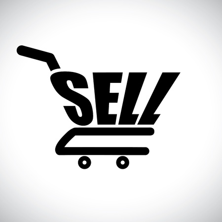e store: Concept illustration of shopping cart with the word sell  The graphic represents online shopping selling concept using e-commerce to buy anything online