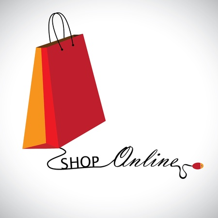 Illustration of shopping online using a technology  The graphic contains a shopping bag symbol linked to a mouse with the wire forming words  shop     online  Vector