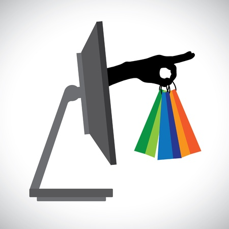 conceptual symbol: Buying shopping online using a technology PC   The graphic contains a PC and shopping bag symbol held by a silhouette hand representing the concept of e-commerce online shopping e-business, etc  Illustration