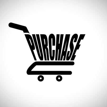Concept illustration of shopping cart with the word purchase  The graphic represents online shopping concept using e-commerce to buy purchase anything online Vector