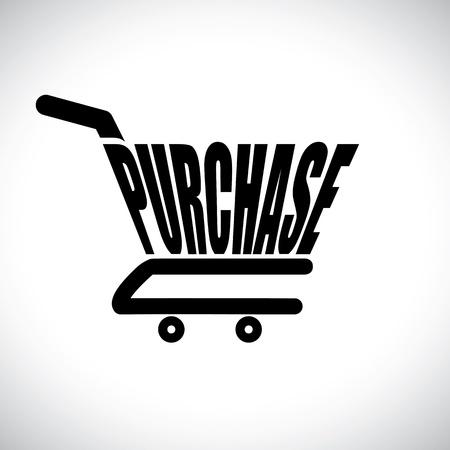 carretilla de mano: Ilustración del concepto de carrito de la compra con la palabra comprar El gráfico representa concepto de compras en línea mediante el comercio electrónico para comprar cualquier cosa en línea compra