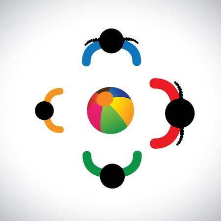 Illustration von Kinder spielen mit Beachball. Dieses farbenfrohe Grafik enthält Kinder (Mädchen und Jungen) spielen zusammen in ihrer Freizeit & Spaß und eine gute Zeit