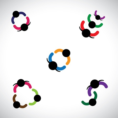 girls having fun: Graphic of kids(boys & girls) playing together. This colorful illustration contains children playing together forming lines and circles in their recreation time & having fun and good times Illustration