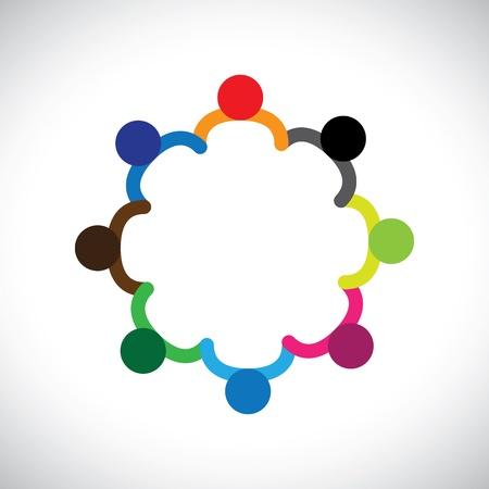 ni�os sosteniendo un cartel: Concepto de ni�os jugando, trabajo en equipo y la diversidad El gr�fico contiene los ni�os tomados de las manos formando un c�rculo Esto tambi�n puede representar concepto de equipo de las empresas y el trabajo en equipo tambi�n diversidad personas