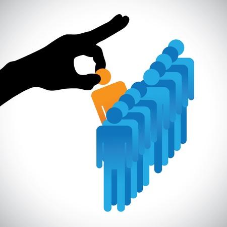 kiválasztás: Fogalma illusztrációja választotta a legjobb munkavállaló Az ábra azt mutatja, a cég HR képviseli kéz sziluett, hogy a választás egy személy megfelelő készségek a munka sok más jelölt