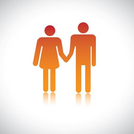 marido y mujer: Ilustraci�n de la esposa esposo mantiene unido. Este gr�fico representa la uni�n y el amor entre una pareja de enamorados que est�n de pie juntos tomados de la mano. Tambi�n puede representar amantes, convivientes Vectores
