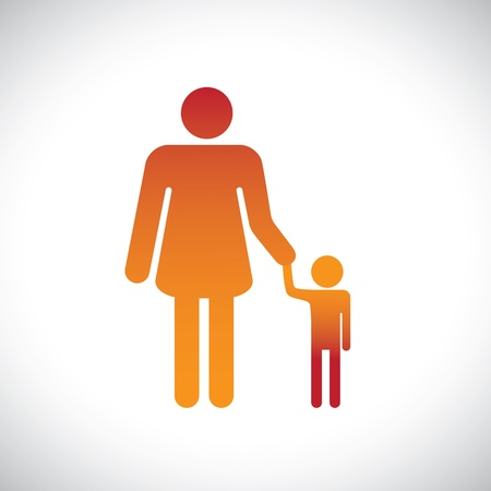 child holding sign: Concept illustration of mother & son together. This graphic represents the bonding between a parent and child with the mother holding the hand of her son