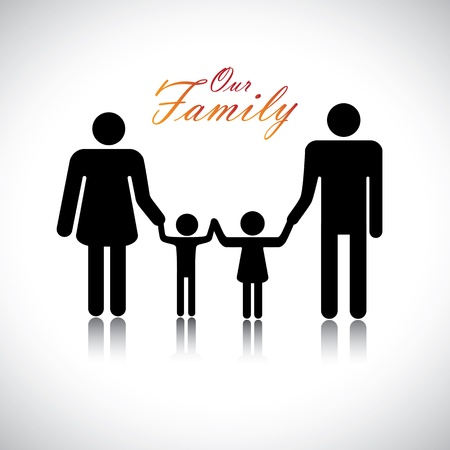 nuclear family: Happy family of father, mother, daughter & son together with text Our Family. The colorful graphic contains parents and their childrens silhouette holding hands together forming a nuclear family.