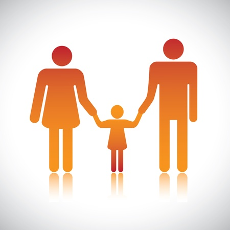 Happy family of father, mother &amp, daughter together Stock Vector - 16614636