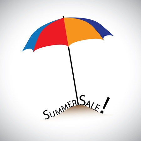 Concept illustration of summer sale in a beach with colorful umbrella Stock Vector - 16614634