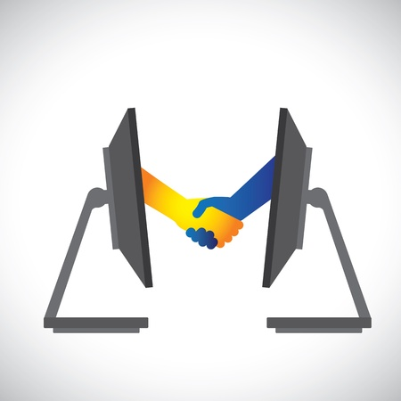 Concept illustration of internet deals, partnerships, business, etc., shown by handshake between two people from inside two computer(PC) monitors. Vector