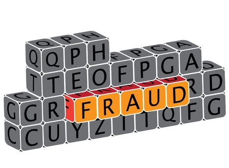 dupe: Illustration of word fraud using alphabet cubes  The graphic can represent various scams, false fronts, online piracy, etc