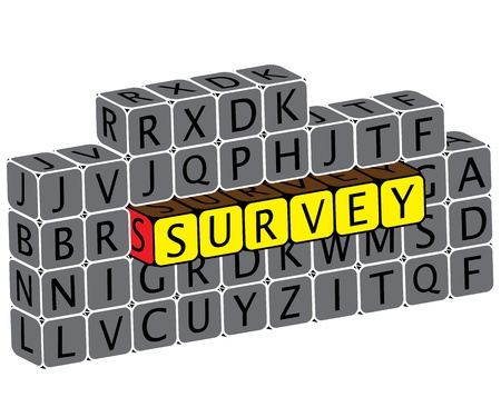 Illustration of word survey using alphabet cubes. The graphic can represent various online questionnaires, feedback requests, etc Vector