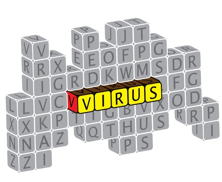 Illustration of word virus using alphabet cubes. The graphic can represent concepts like virus attack, need for spyware, anti virus protection, online security, etc. Stock Vector - 16747537