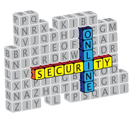 Illustration of word online security using alphabet(text) cubes. The graphic can represent concepts like protection against virus attack, protection against phishing  hacking, online security, etc. Stock Vector - 16747542