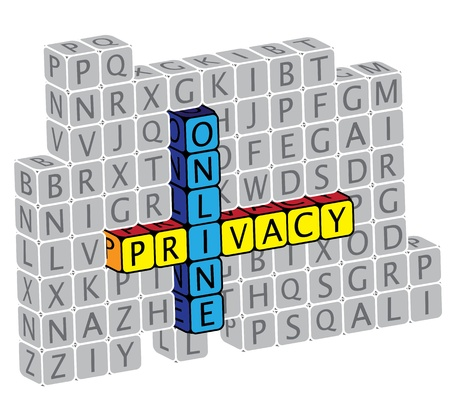 Illustration of word online privacy using alphabet(text) cubes. The graphic can represent concepts like protection of personal information identity, public and private information and data, etc. Stock Vector - 16747540