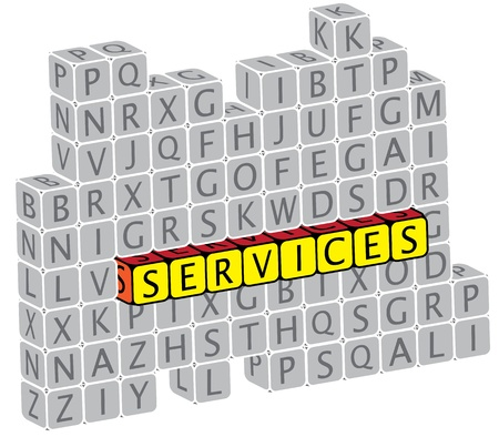 Illustration of word services using alphabet(text) cubes. The graphic can represent concepts like helpdesk, concierge services, etc Stock Vector - 16747545