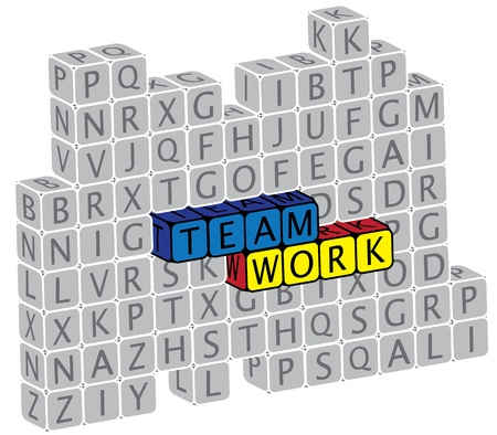Illustration of word teamwork using alphabet(text) cubes. The graphic can represent concepts like friendship, togetherness, community, etc. Stock Vector - 16747543