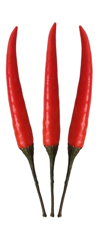 vegs: Fresh 3 red cayenne chili pepper isolated on white background Stock Photo