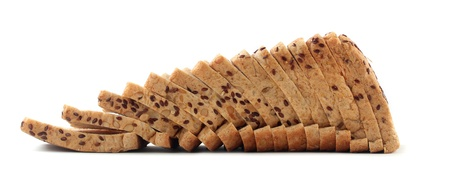 european food: Healthy & nutritious multigrain bread slices with flaxseeds and pumpkin seeds on white background